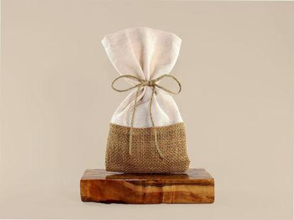 Εικόνα της Πουγκί δίχρωμο από λινάτσα και βαμβακερό ύφασμα