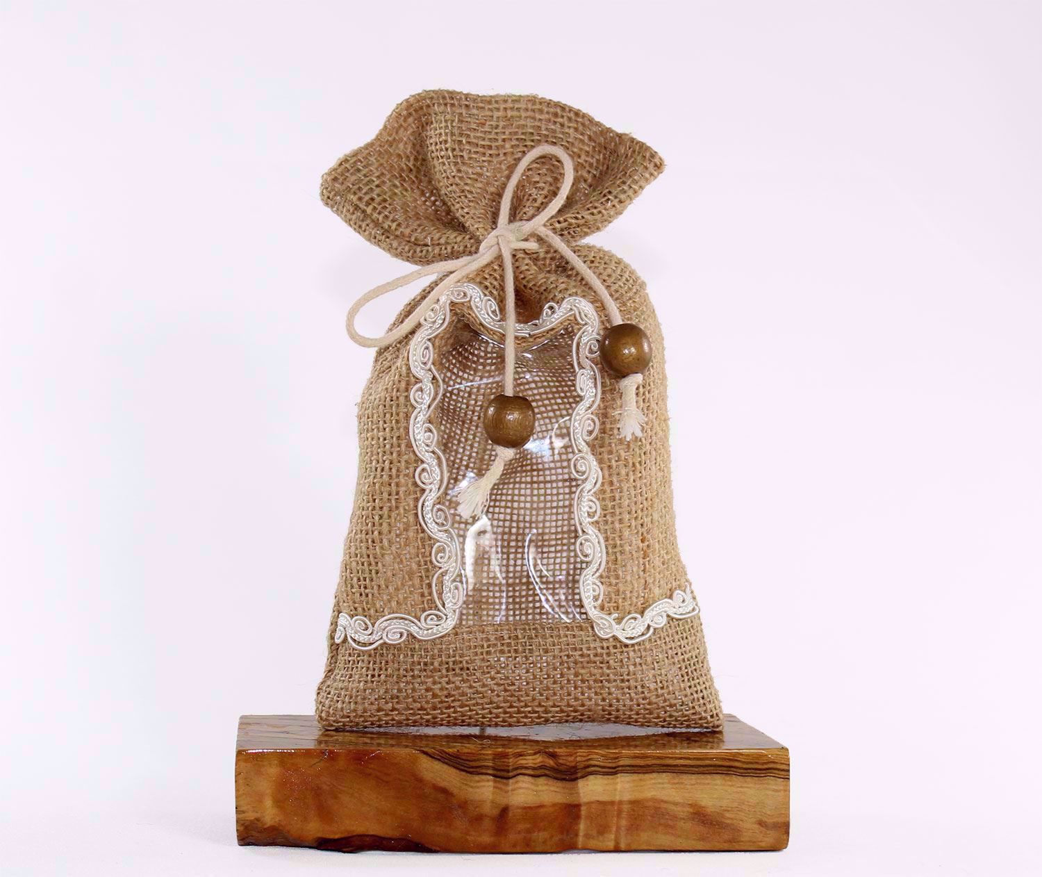 Picture of Burlap pouch with clear vinyl window and lace